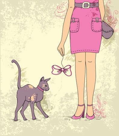 flowers cat: Hand drawn vector background with girl and cat