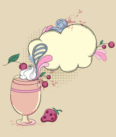 Hand drawn retro vector drink with strawberry and cherry Stock Vector - 12225087
