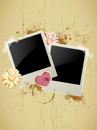 Photo frame with heart and flower on a grunge background for Valentine's Day Vector