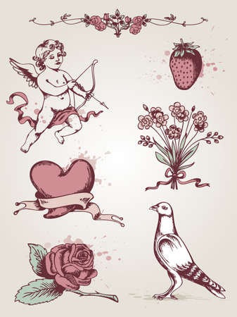 Vector hand drawn vintage elements for Valentines Day Vector