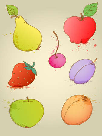 Set of vector hand drawn bright fruits Vector