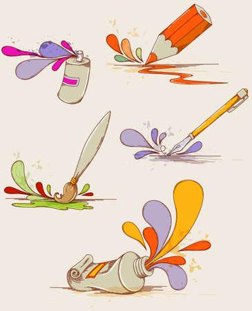 Set of vector hand drawn paints and pencils Ilustração