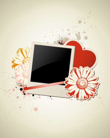 Photo frame with heart and flower on a grunge background for Valentines Day Vector