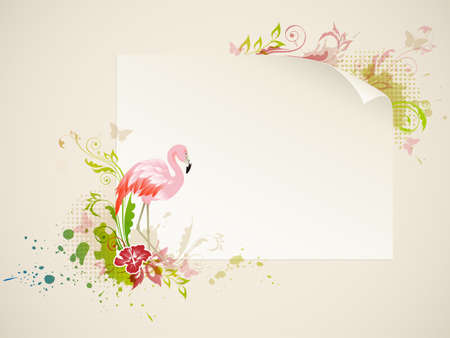 pink flamingo: Vector banner with pink flamingo and flowers