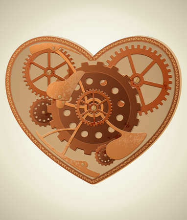 steampunk: Vector mechanical heart in the style of steampunk Illustration