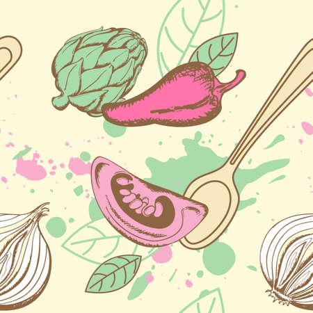 artichoke: Vector seamless pattern  with tomato, artichoke and pepper