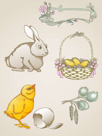 Vector vintage hand drawn  Easter symbols Vector