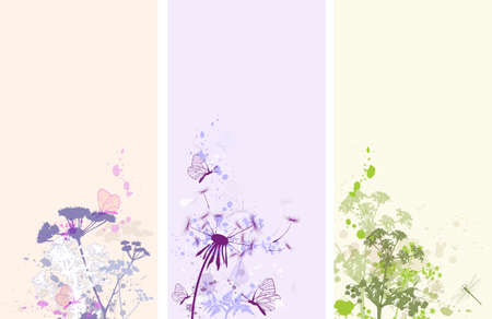 Vertical vector floral banners with butterflies and flowers Vector