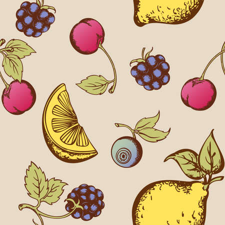 Vintage vector seamless pattern with fruits and berries Vector