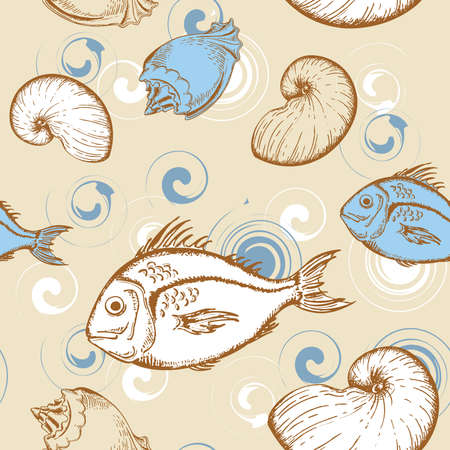 marine seamless pattern with fish and shells