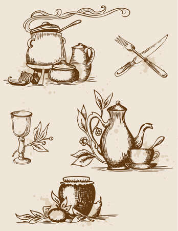 set of hand-drawn vintage  tableware Vector