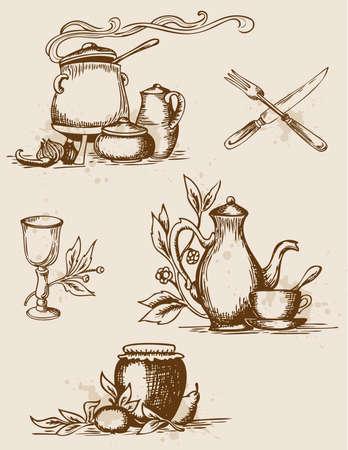 set of hand-drawn vintage  tableware