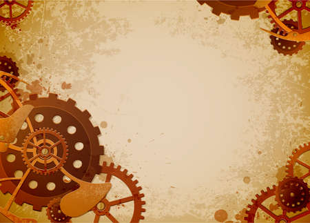 metallic grunge: Vector grunge background in the style of steampunk