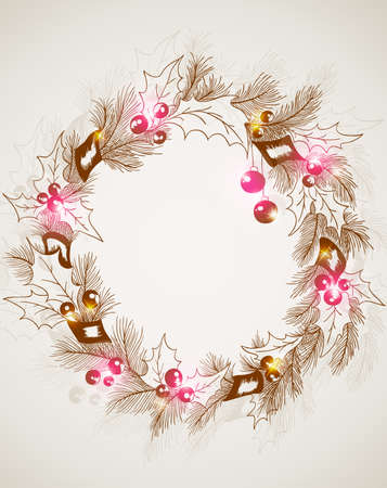 vector hand drawn retro Christmas background with wreath Vector