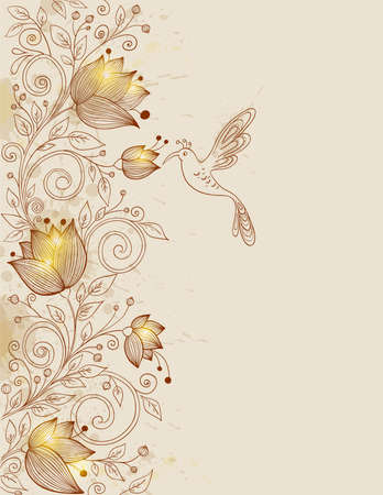 vector hand drawn retro floral background with bird