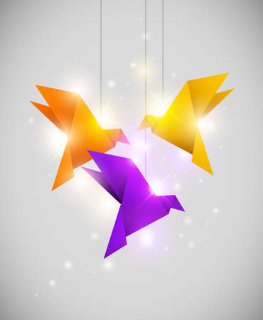 Vector shining background with origami birds