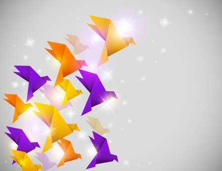 origami oiseau: Vecteur abstrait briller avec des oiseaux en origami