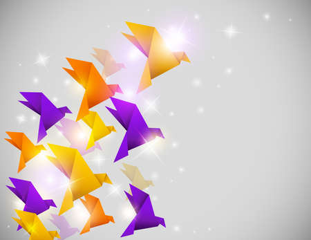 Vector abstract shining background with origami birds