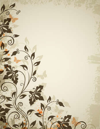 Vintage floral background with flowers and butterflies