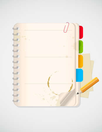 background with notebook and yellow pencil