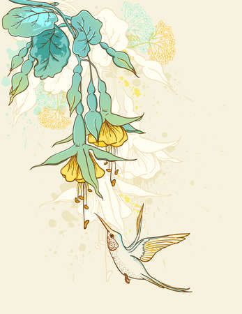 Floral background with humming-bird and tropical flowers