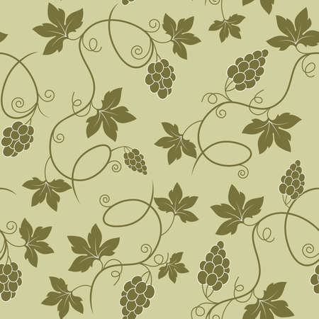 Green vector seamless pattern with ripe grapes Vector