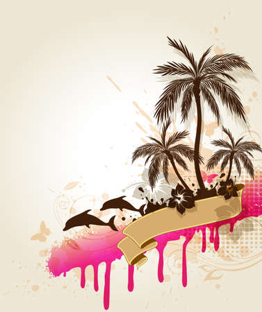 Summer tropical background with palms and dolphin Vector