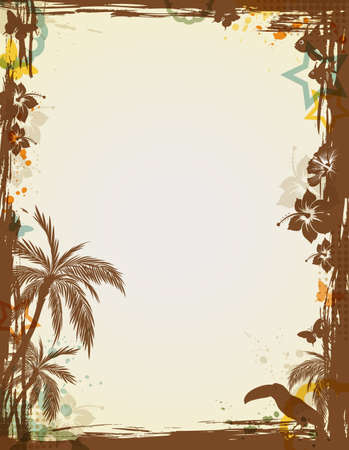 Abstract tropical frame with palms and bird