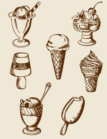 ice cream: Set of vintage hand drawn ice cream