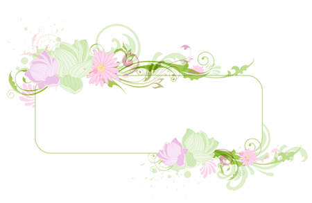 Green floral banner with lotus and ornament