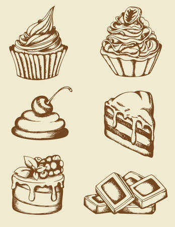 Set of vintage hand drawn cakes and chocolate Vector