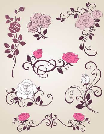 Decorative elements with roses for design Illustration