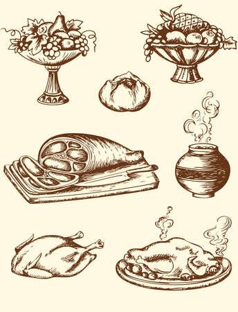turkey bacon: Set di disegnati a mano d'epoca cibo vettore