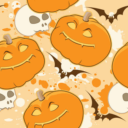 Yellow Halloween pattern with pumpkin and skull Vector