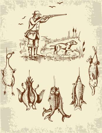 Vintage hand drawn wild animals and hunter Иллюстрация