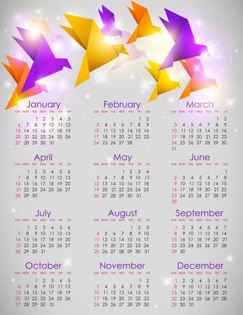 Vector calendar for 2013 with origami birds Vector