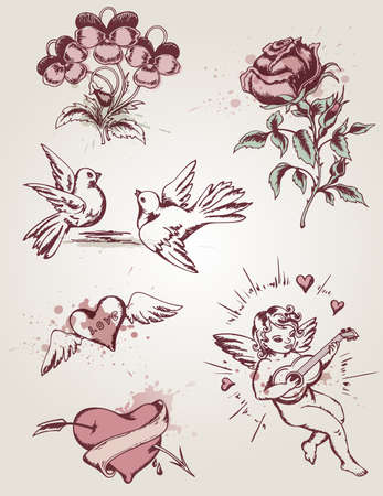 hand drawn retro elements for Valentine's Day Vector
