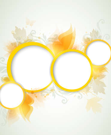 Abstract shining background with yellow leaves Vector