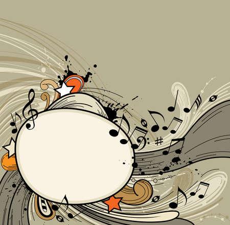 abstract music: Retro abstracte muziek achtergrond met notities.