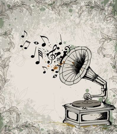 gramophone: Retro music background with gramophone and notes.  Illustration