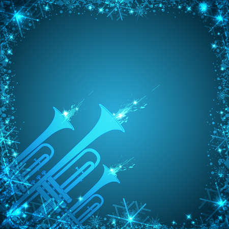 fanfare: Vector blue Christmas card with trumpets and snowflakes