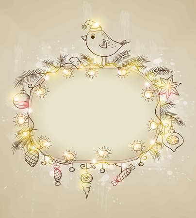 Vector shining  Christmas background with bird and decorations Vector