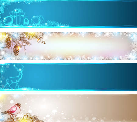Vector Christmas banners with Christmas tree and decorations Vector