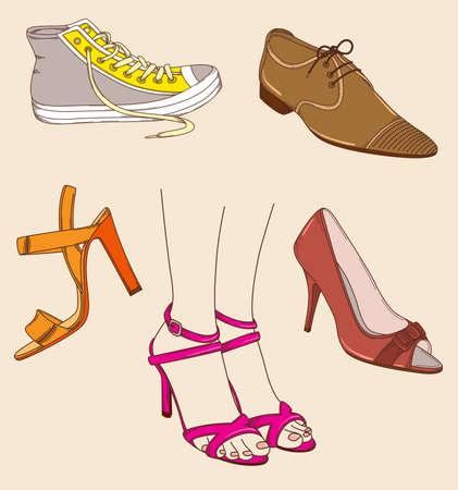 piernas de mujer: dibujados a mano las piernas femeninas y zapatos diferentes Vectores