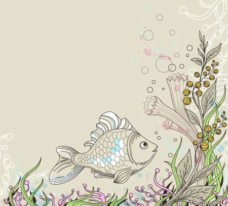 marine background with fish and plants Stock Vector - 17121415