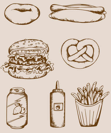 Set of vector vintage fastfood icons