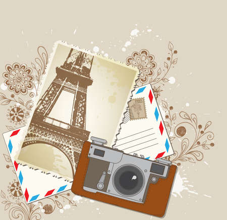 Vector background with old camera and photo Vector