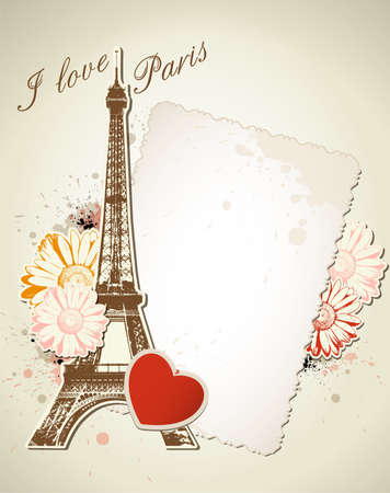 Vector background with old frame and  Eiffel tower Vector