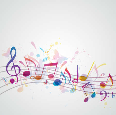 music notes vector: Vector music background with notes and butterflies