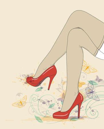 legs stockings: Vector background con le gambe femminile in scarpe e le calze rosse